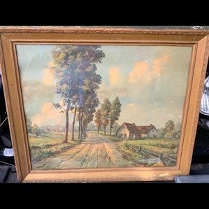 Antique Poplar Lane Print Jon Carlson Home Country